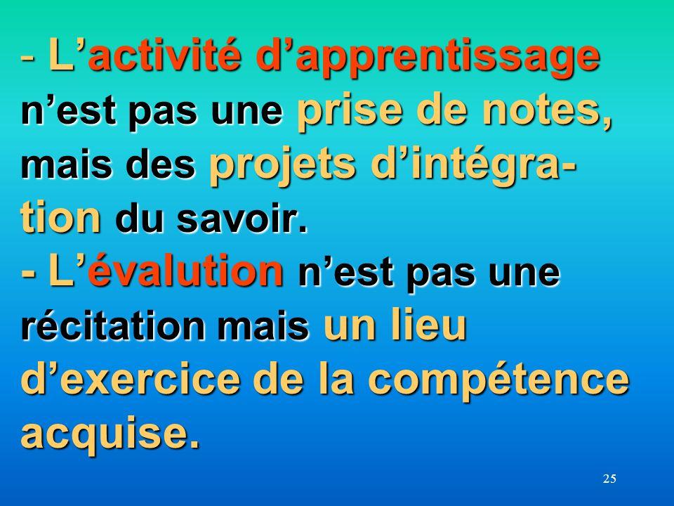 L'activité d'apprentissage n'est pas une prise de notes, mais des projets d'intégra-tion du savoir. - L'évalution n'est pas une récitation mais un lieu d'exercice de la compétence acquise.