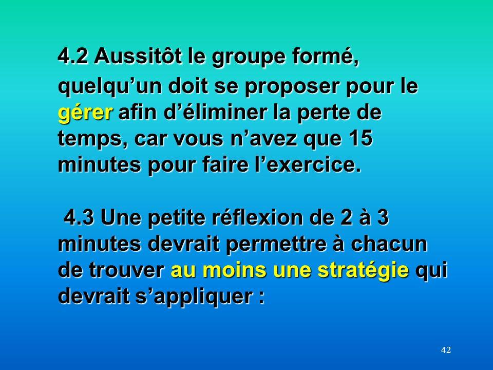 4.2 Aussitôt le groupe formé, quelqu'un doit se proposer pour le gérer afin d'éliminer la perte de temps, car vous n'avez que 15 minutes pour faire l'exercice. 4.3 Une petite réflexion de 2 à 3 minutes devrait permettre à chacun de trouver au moins une stratégie qui devrait s'appliquer :