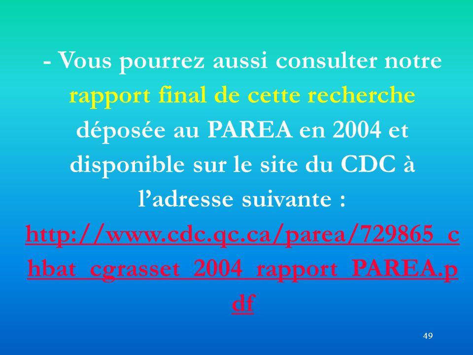 - Vous pourrez aussi consulter notre rapport final de cette recherche déposée au PAREA en 2004 et disponible sur le site du CDC à l'adresse suivante : http://www.cdc.qc.ca/parea/729865_chbat_cgrasset_2004_rapport_PAREA.pdf