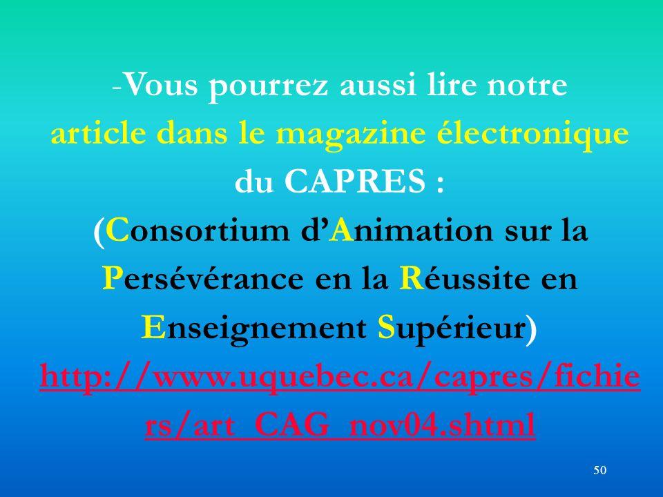 Vous pourrez aussi lire notre article dans le magazine électronique du CAPRES :