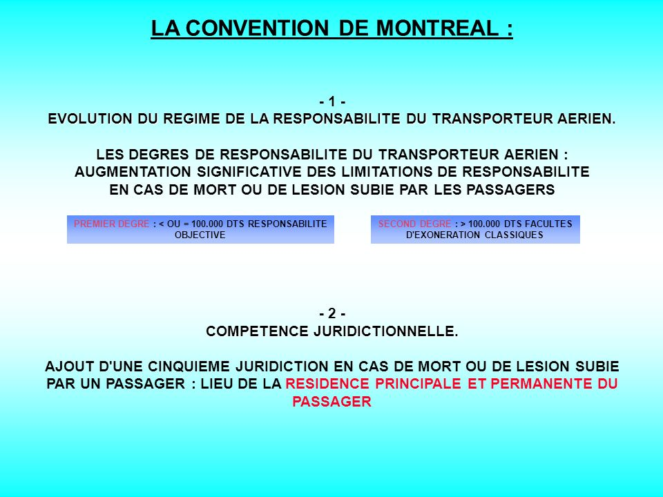 LA CONVENTION DE MONTREAL :