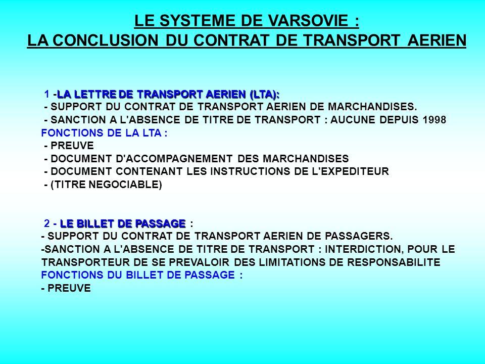 LE SYSTEME DE VARSOVIE : LA CONCLUSION DU CONTRAT DE TRANSPORT AERIEN