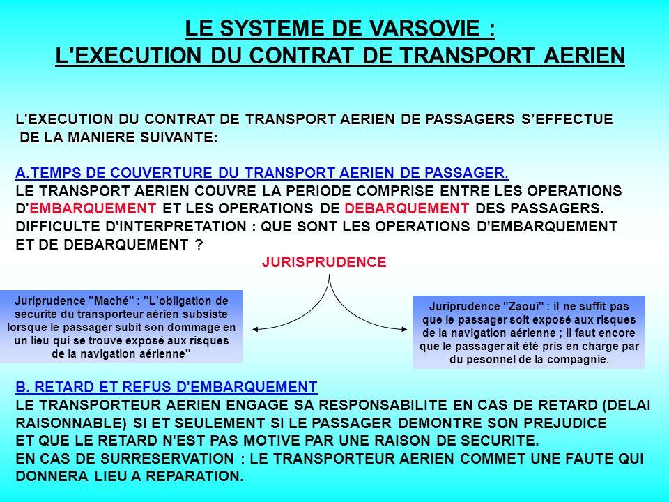 LE SYSTEME DE VARSOVIE : L EXECUTION DU CONTRAT DE TRANSPORT AERIEN