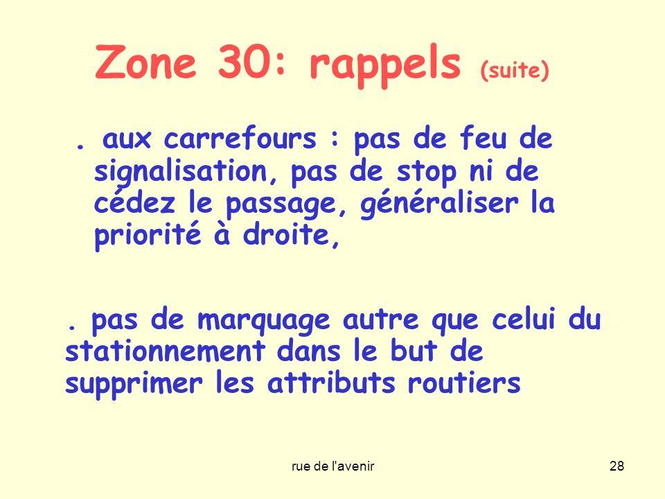 Zone 30: rappels (suite) . aux carrefours : pas de feu de signalisation, pas de stop ni de cédez le passage, généraliser la priorité à droite,