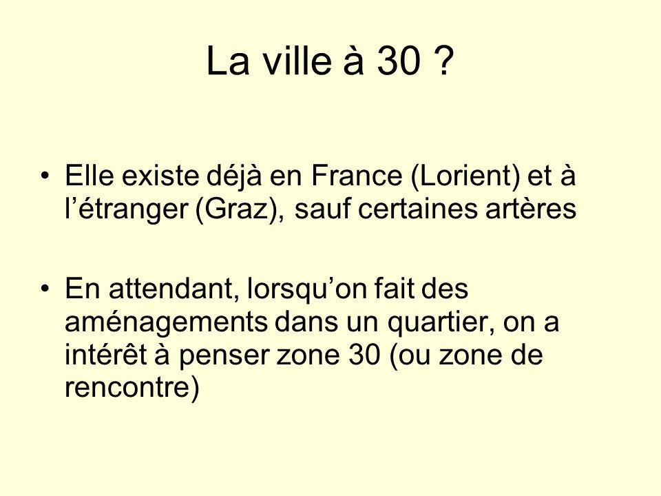 La ville à 30 Elle existe déjà en France (Lorient) et à l'étranger (Graz), sauf certaines artères.