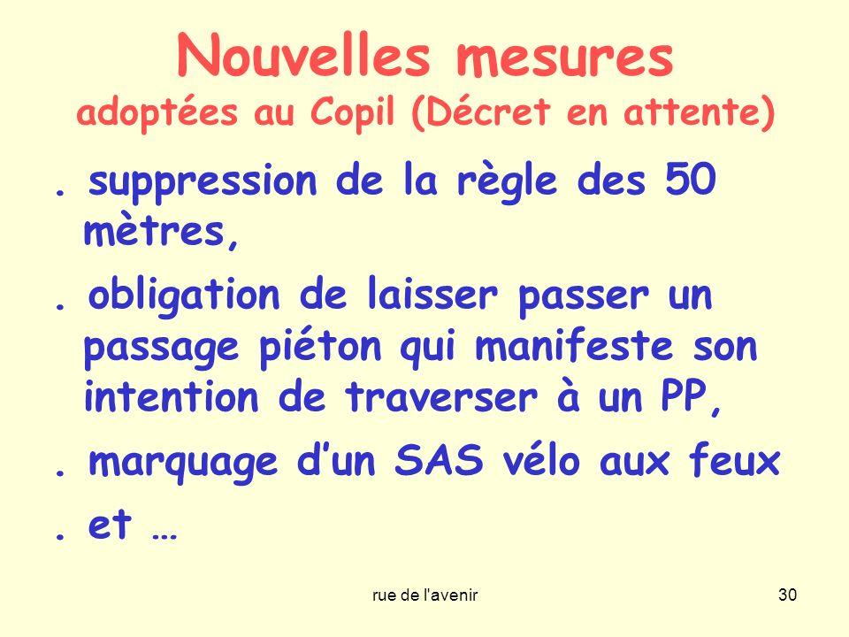 Nouvelles mesures adoptées au Copil (Décret en attente)