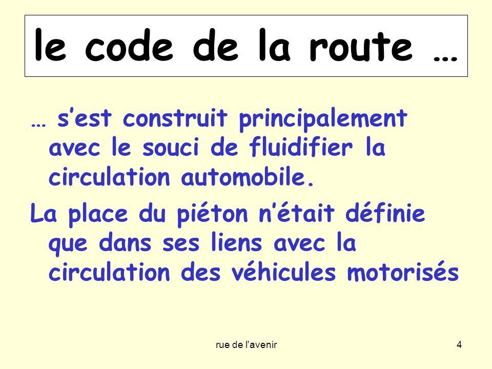 le code de la route … … s'est construit principalement avec le souci de fluidifier la circulation automobile.