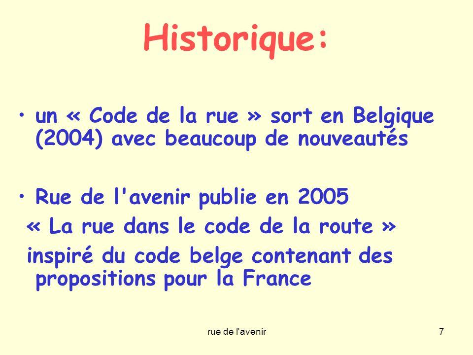 Historique: un « Code de la rue » sort en Belgique (2004) avec beaucoup de nouveautés. Rue de l avenir publie en 2005.