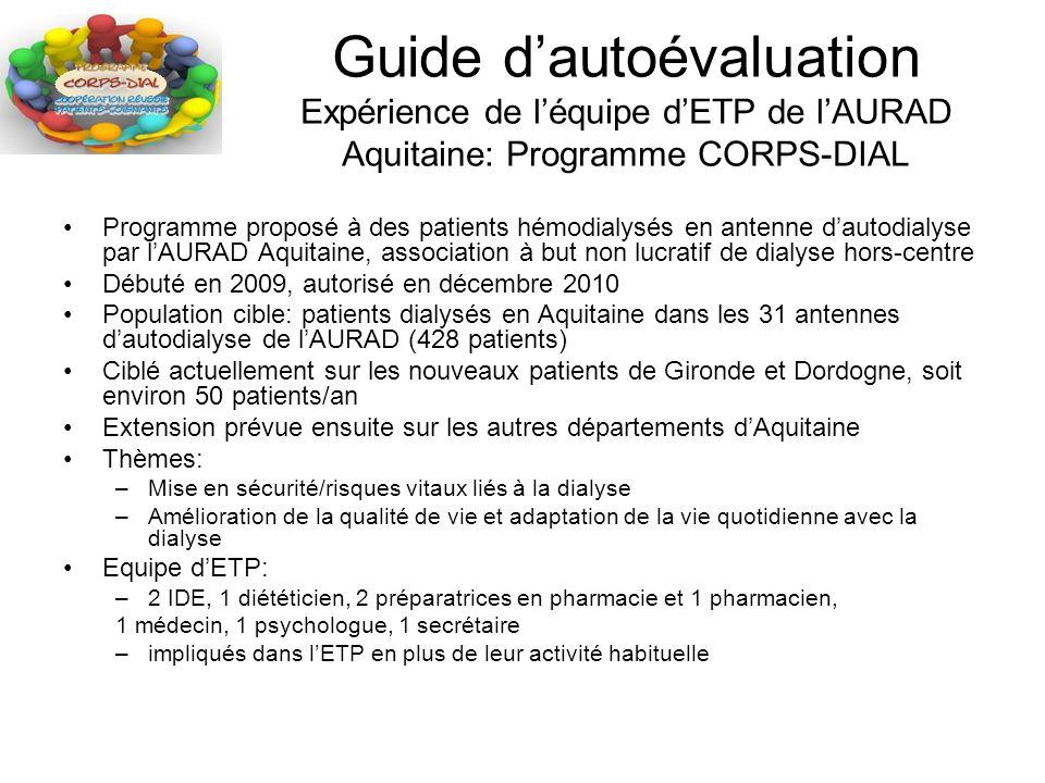 Guide d'autoévaluation Expérience de l'équipe d'ETP de l'AURAD Aquitaine: Programme CORPS-DIAL