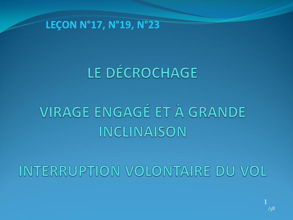 LEÇON N°17, N°19, N°23 LE DÉCROCHAGE VIRAGE ENGAGÉ ET À GRANDE INCLINAISON INTERRUPTION VOLONTAIRE DU VOL.