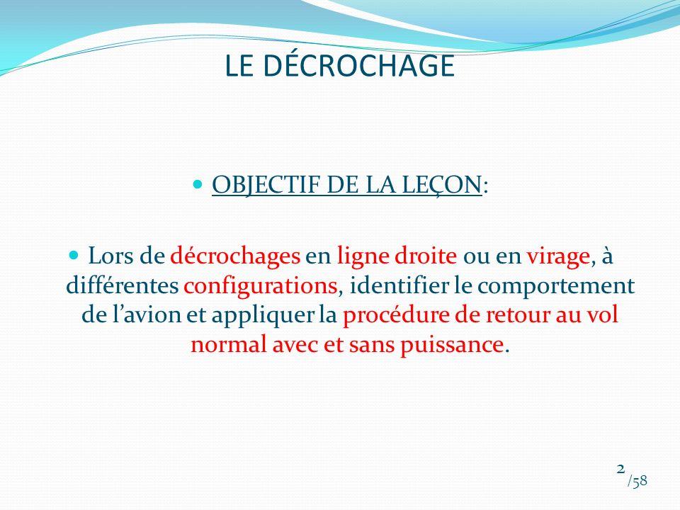 LE DÉCROCHAGE OBJECTIF DE LA LEÇON:
