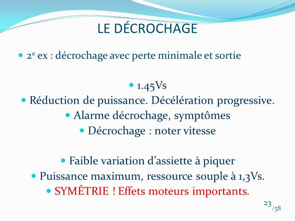 LE DÉCROCHAGE 1.45Vs Réduction de puissance. Décélération progressive.