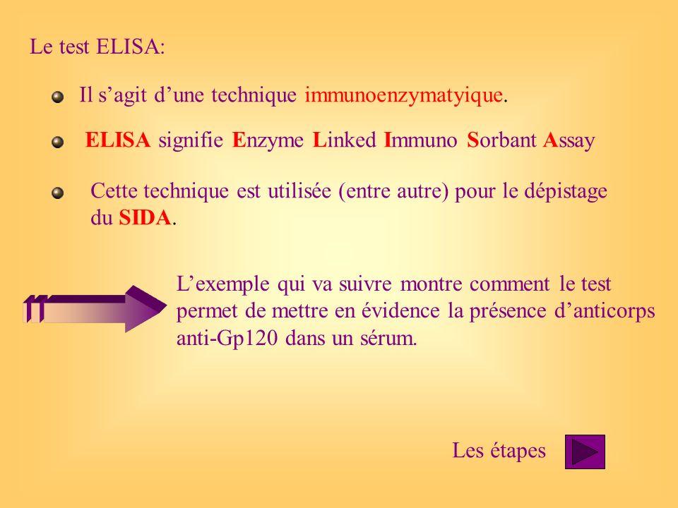 Le test ELISA:Il s'agit d'une technique immunoenzymatyique. ELISA signifie Enzyme Linked Immuno Sorbant Assay.