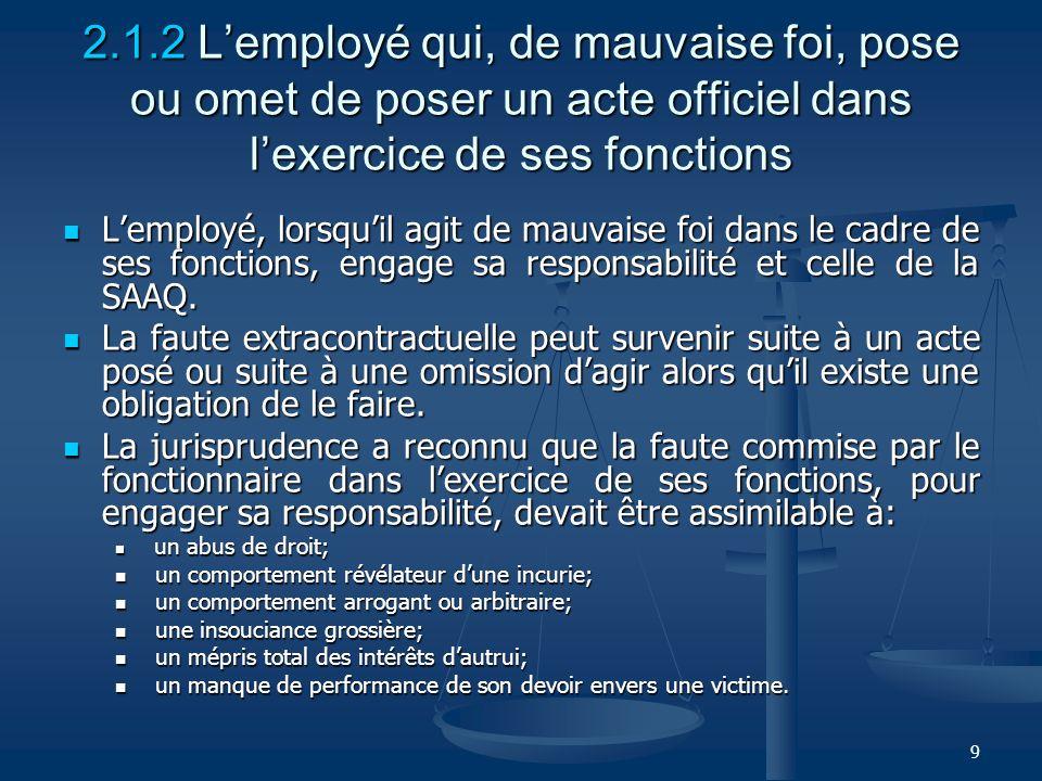 2.1.2 L'employé qui, de mauvaise foi, pose ou omet de poser un acte officiel dans l'exercice de ses fonctions