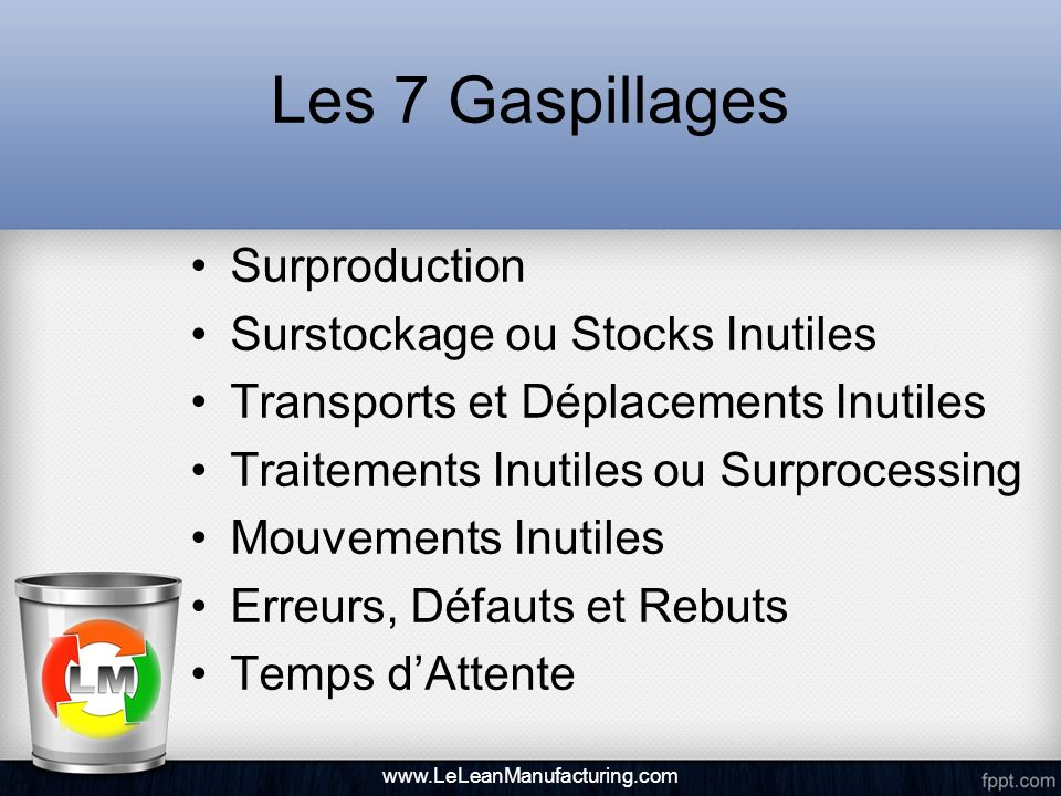 Les 7 Gaspillages Surproduction Surstockage ou Stocks Inutiles