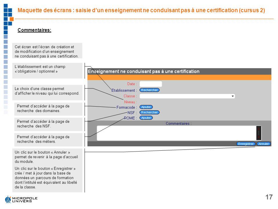 Maquette des écrans : saisie d'un enseignement ne conduisant pas à une certification (cursus 2)