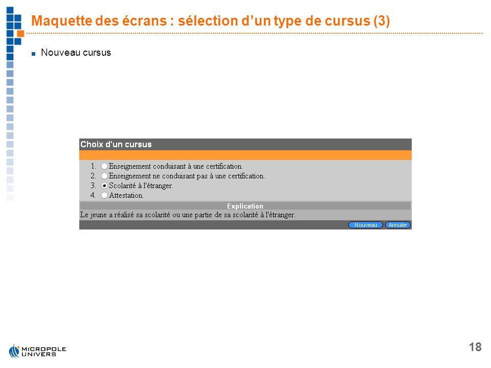 Maquette des écrans : sélection d'un type de cursus (3)