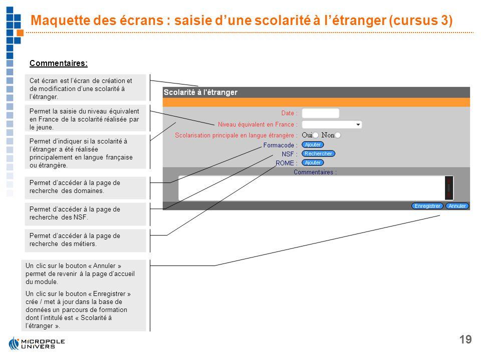 Maquette des écrans : saisie d'une scolarité à l'étranger (cursus 3)