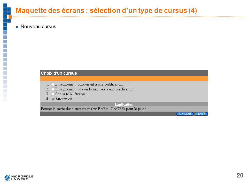 Maquette des écrans : sélection d'un type de cursus (4)