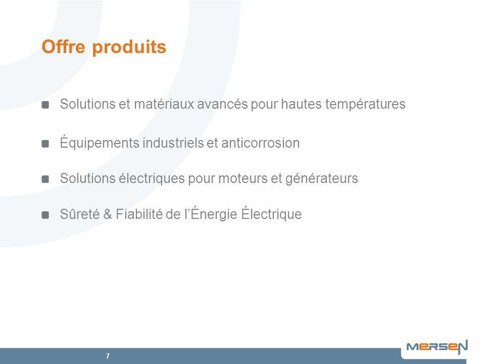 Offre produits Solutions et matériaux avancés pour hautes températures