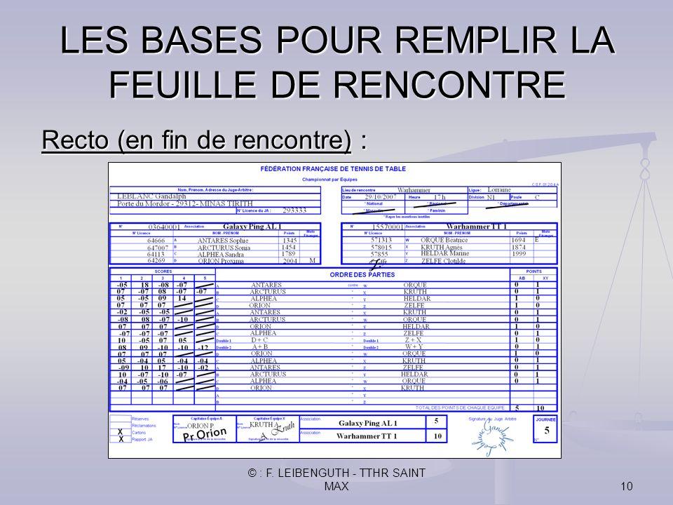 LES BASES POUR REMPLIR LA FEUILLE DE RENCONTRE