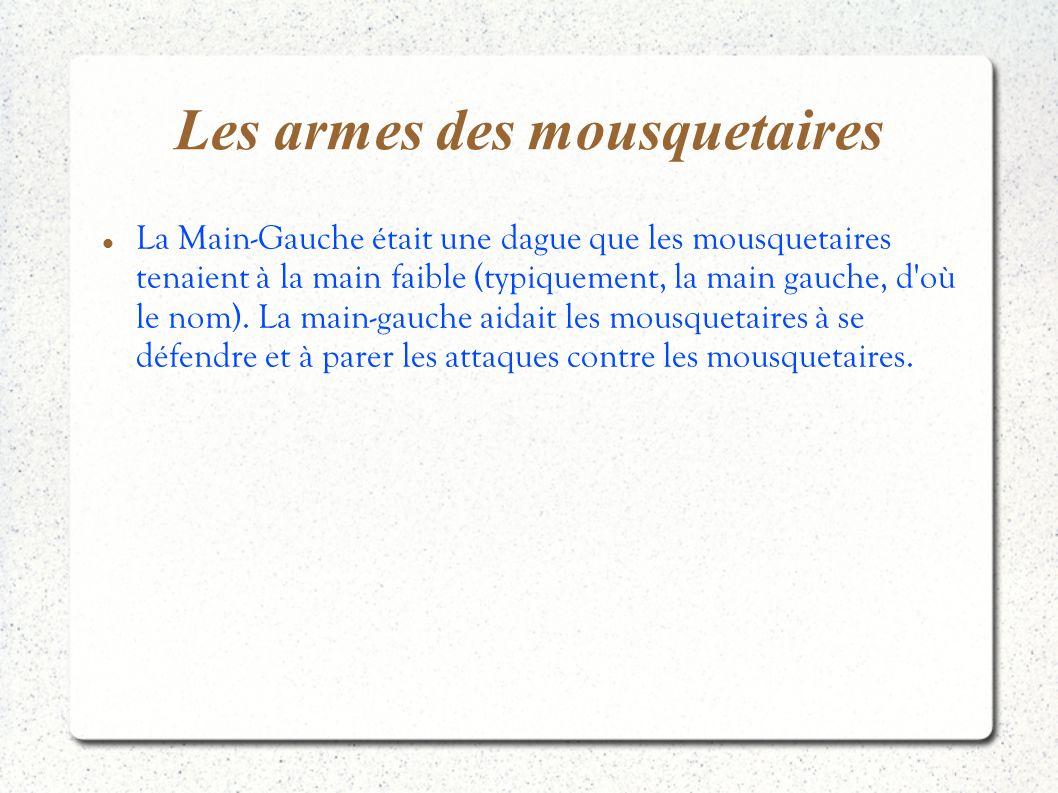 Les armes des mousquetaires