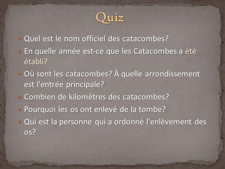 Quiz Quel est le nom officiel des catacombes