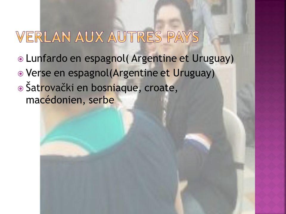 Verlan aux autres pays Lunfardo en espagnol( Argentine et Uruguay)