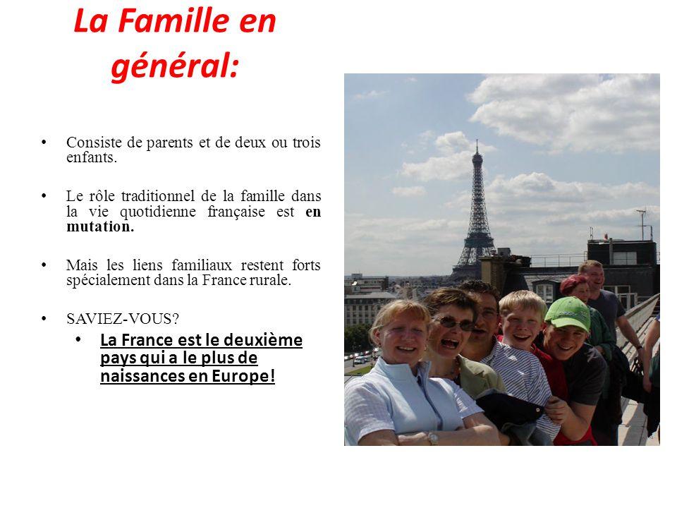 La Famille en général: Consiste de parents et de deux ou trois enfants.