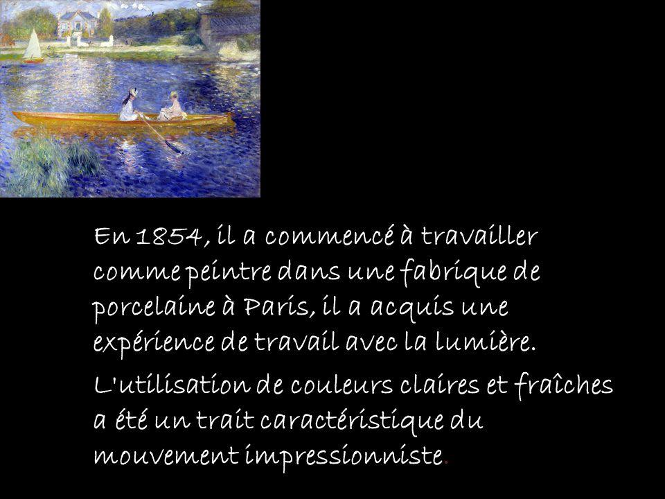 En 1854, il a commencé à travailler comme peintre dans une fabrique de porcelaine à Paris, il a acquis une expérience de travail avec la lumière.