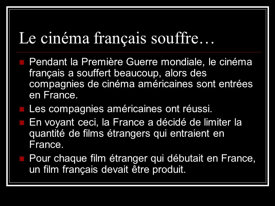 Le cinéma français souffre…