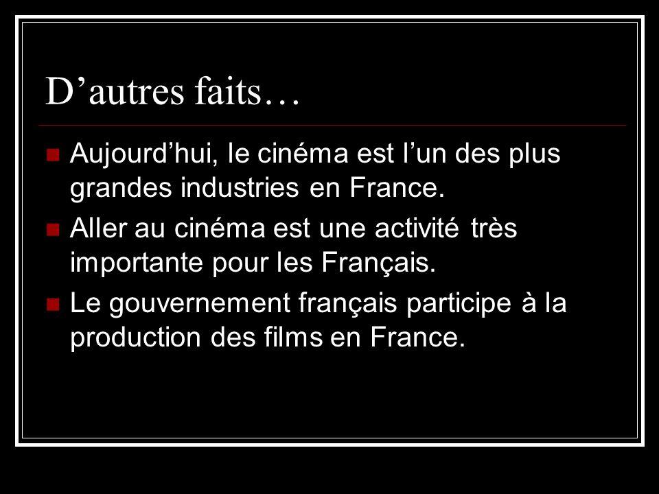 D'autres faits… Aujourd'hui, le cinéma est l'un des plus grandes industries en France.