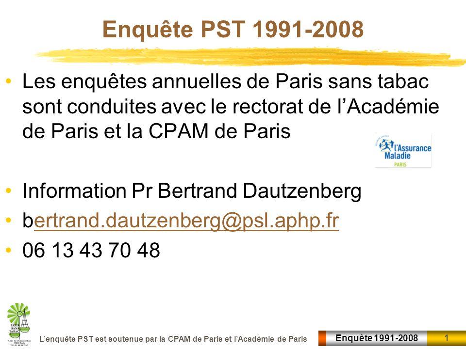 Enquête PST 1991-2008 Les enquêtes annuelles de Paris sans tabac sont conduites avec le rectorat de l'Académie de Paris et la CPAM de Paris.