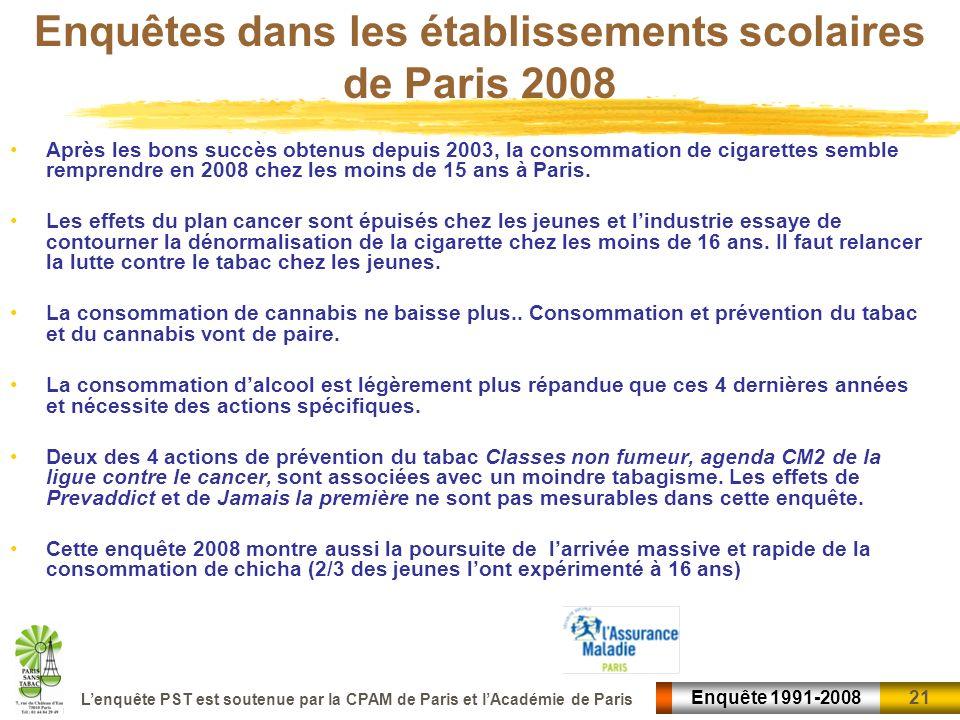 Enquêtes dans les établissements scolaires de Paris 2008
