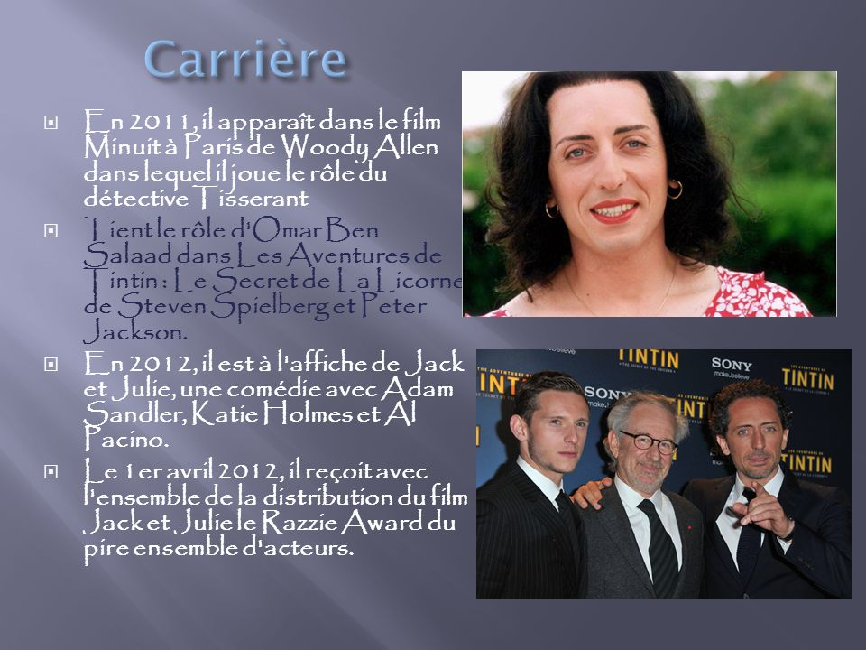 Carrière En 2011, il apparaît dans le film Minuit à Paris de Woody Allen dans lequel il joue le rôle du détective Tisserant.