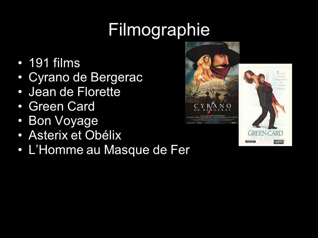 Filmographie 191 films Cyrano de Bergerac Jean de Florette Green Card