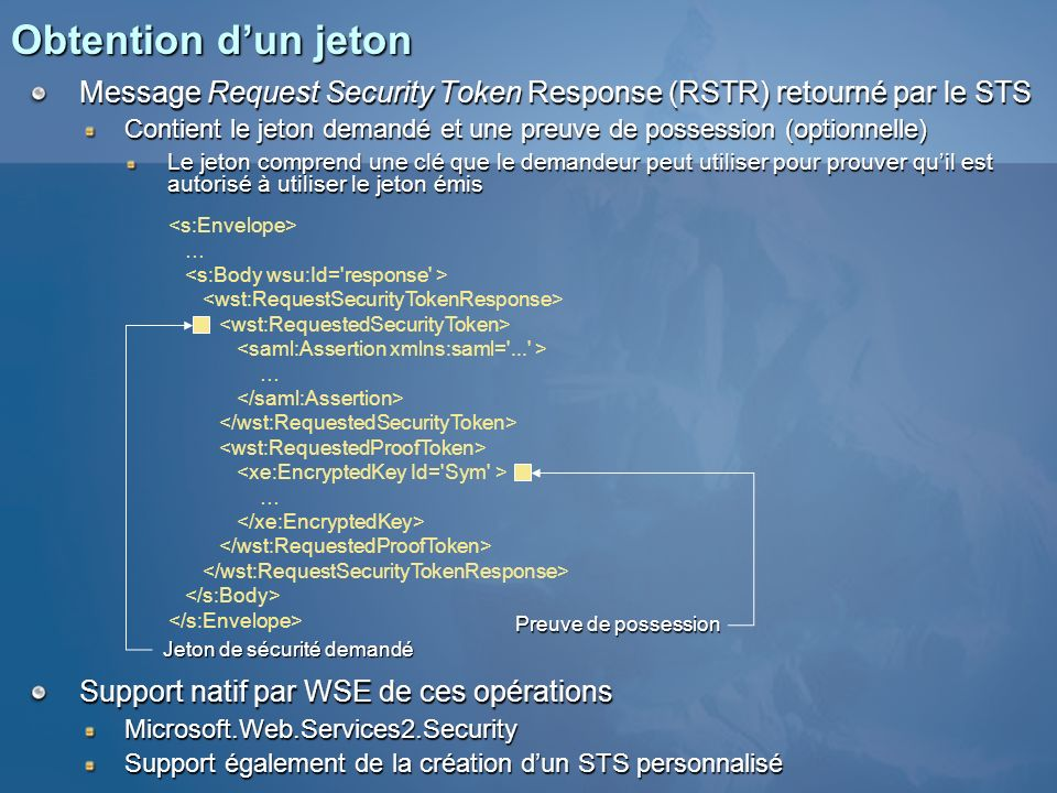 Obtention d'un jeton Message Request Security Token Response (RSTR) retourné par le STS.