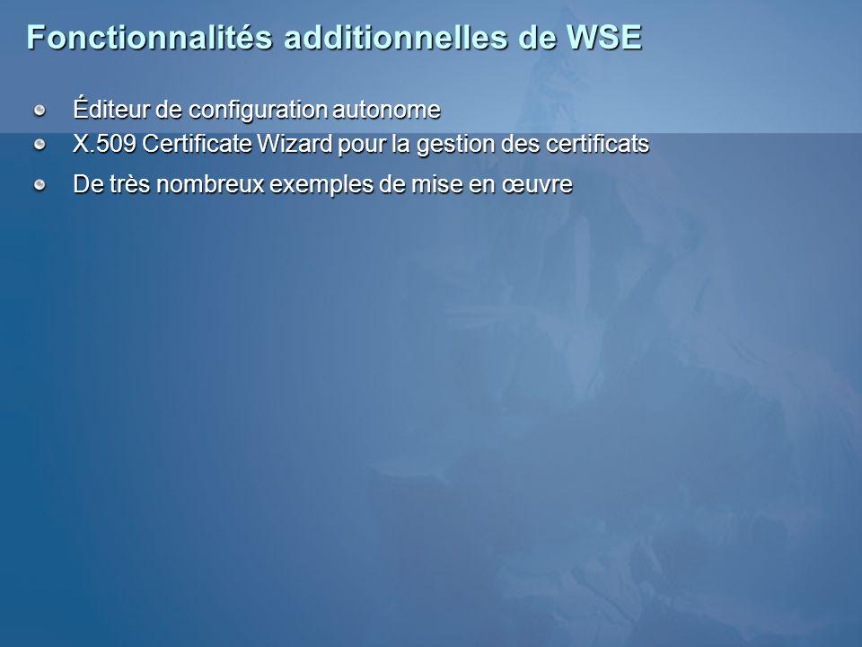 Fonctionnalités additionnelles de WSE