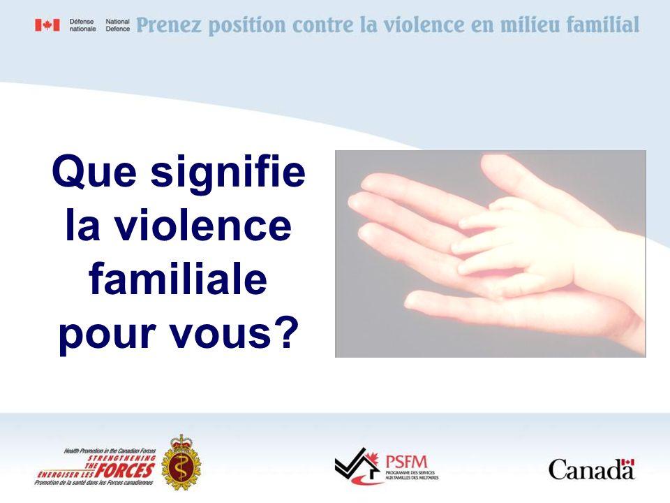 Que signifie la violence familiale pour vous