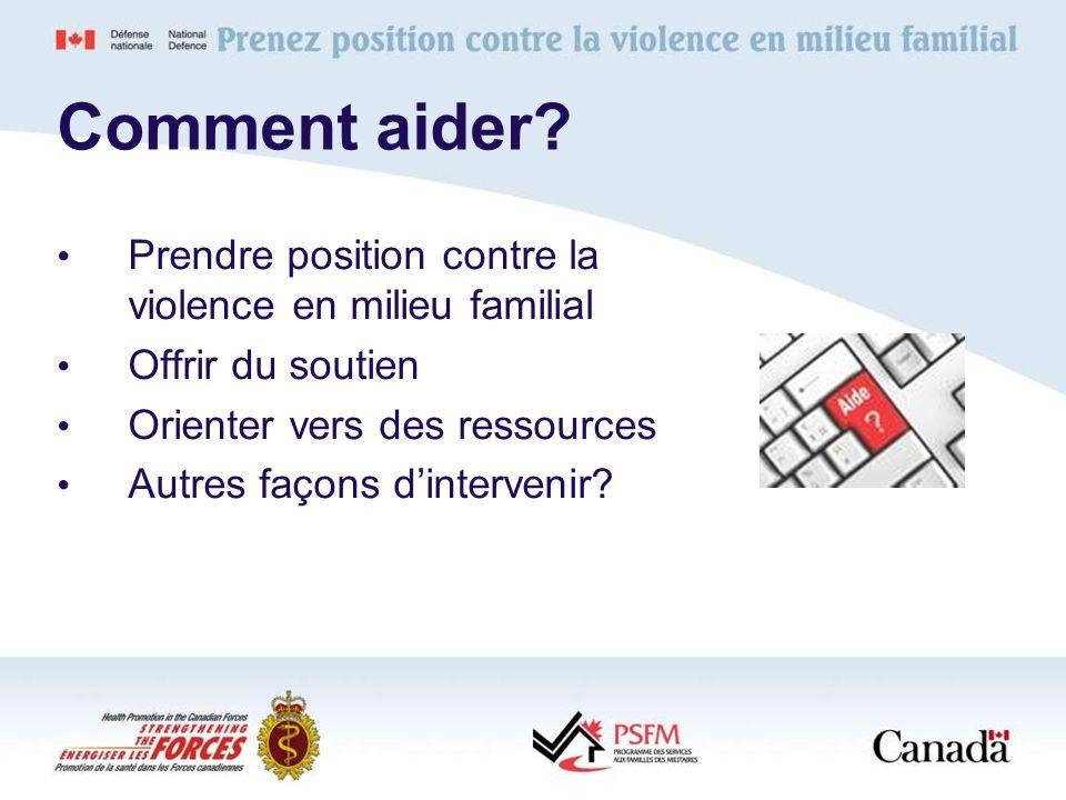 Comment aider Prendre position contre la violence en milieu familial