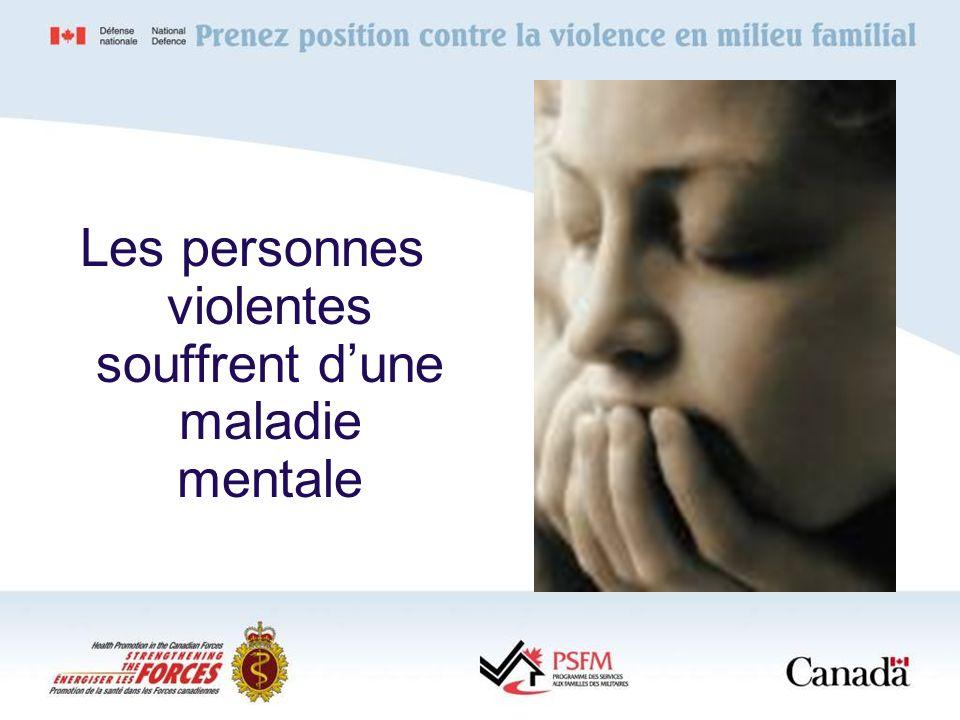 Les personnes violentes souffrent d'une maladie mentale