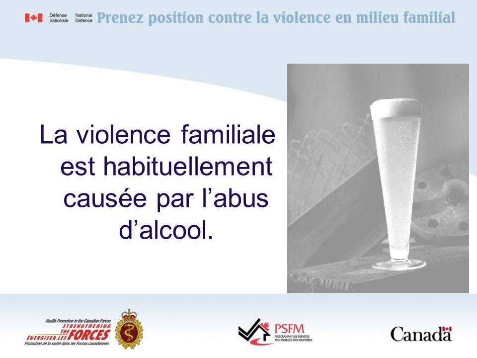 La violence familiale est habituellement causée par l'abus d'alcool.