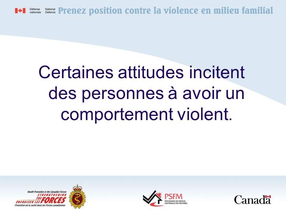 Certaines attitudes incitent des personnes à avoir un comportement violent.