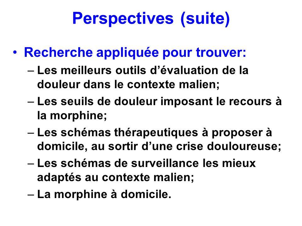 Perspectives (suite) Recherche appliquée pour trouver: