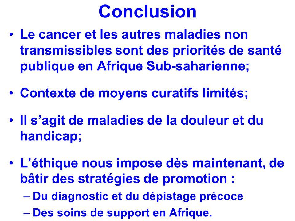 Conclusion Le cancer et les autres maladies non transmissibles sont des priorités de santé publique en Afrique Sub-saharienne;