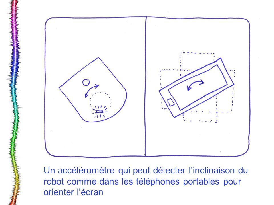 Un accéléromètre qui peut détecter l'inclinaison du robot comme dans les téléphones portables pour orienter l'écran
