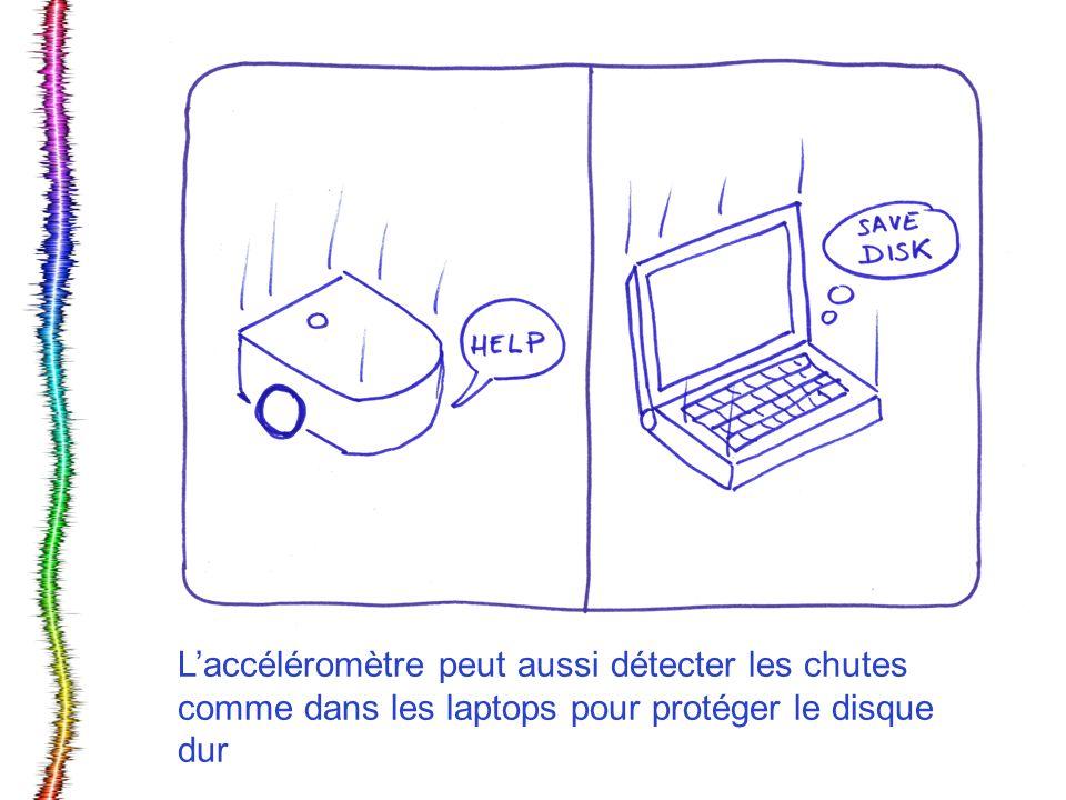 L'accéléromètre peut aussi détecter les chutes comme dans les laptops pour protéger le disque dur