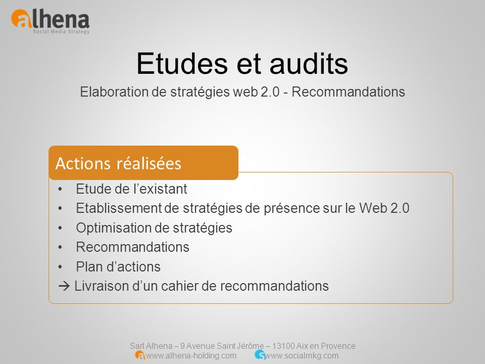 Elaboration de stratégies web 2.0 - Recommandations
