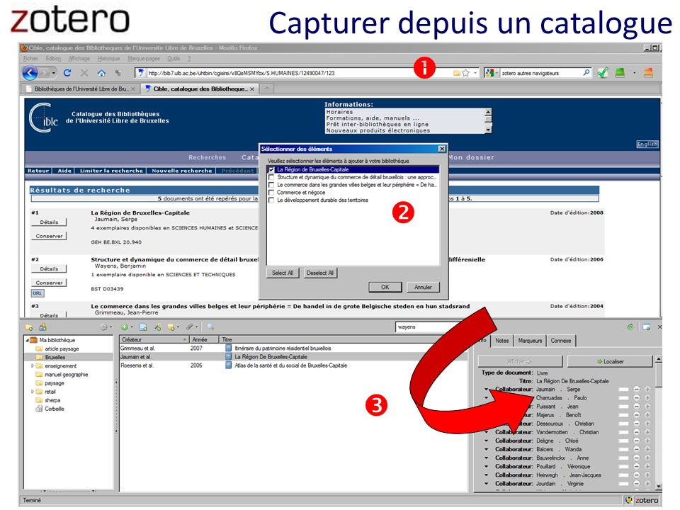 Capturer depuis un catalogue