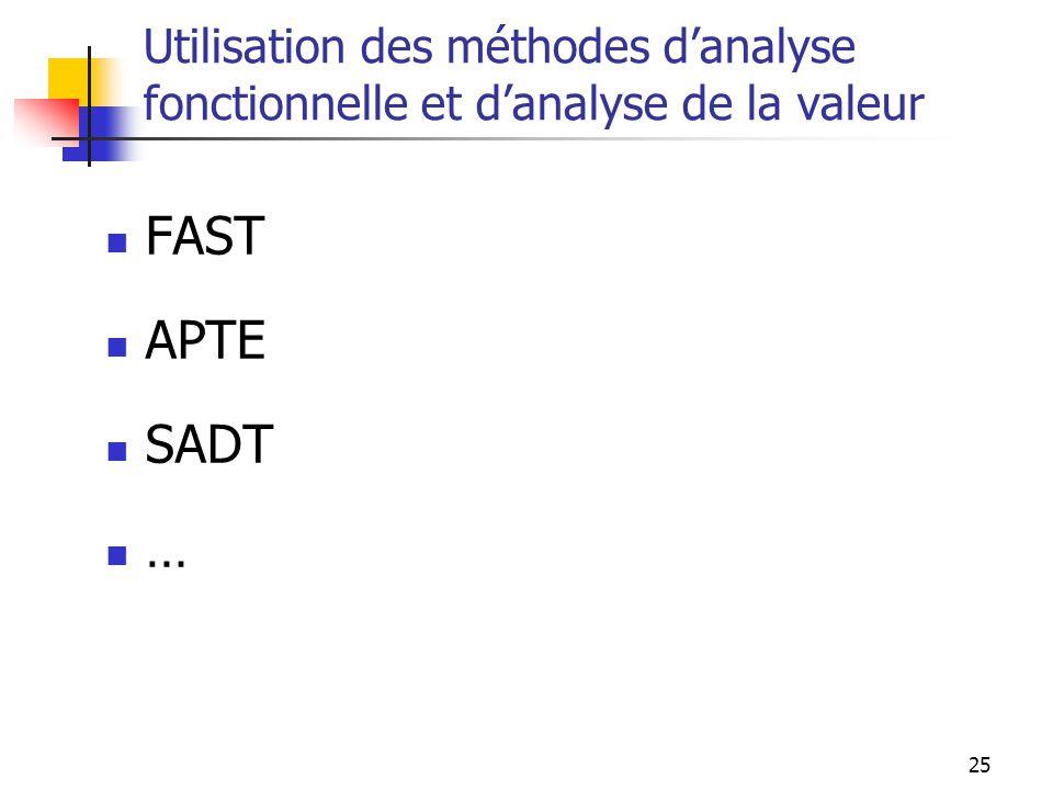 Utilisation des méthodes d'analyse fonctionnelle et d'analyse de la valeur
